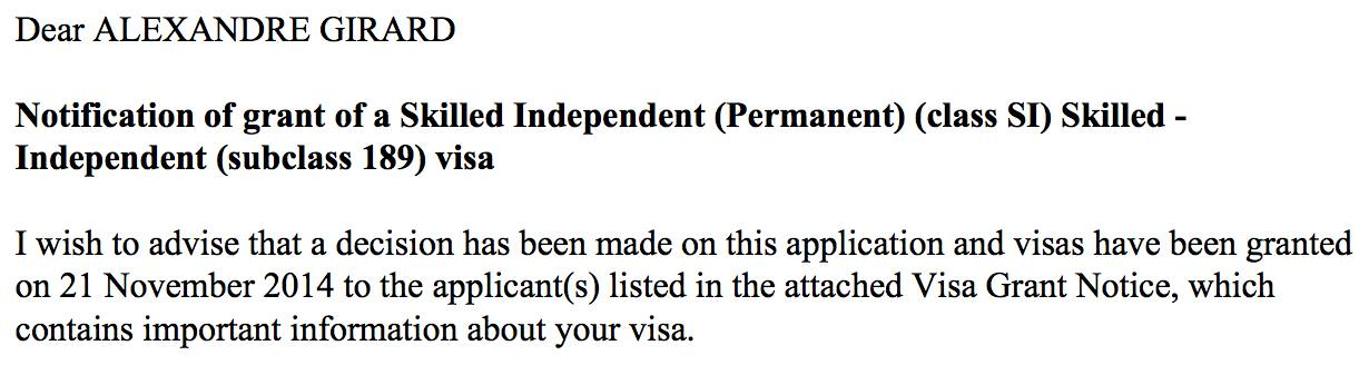 Skilled Visa 189 granted
